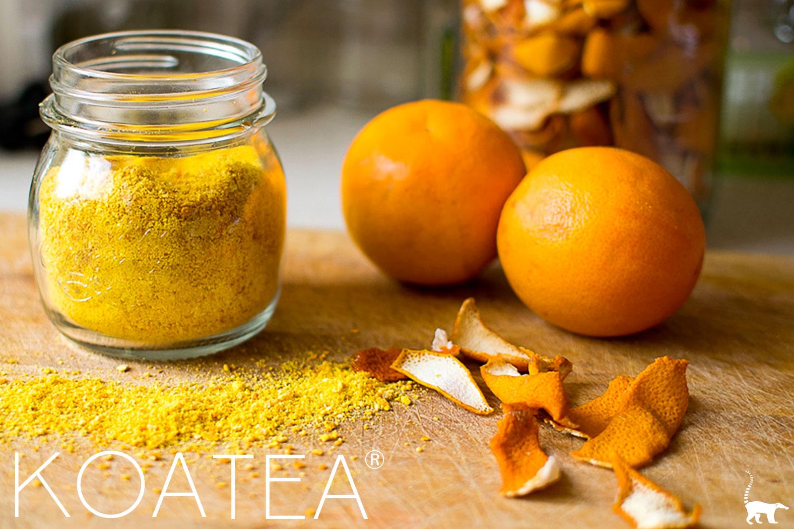 Poudre et écorces d'orange